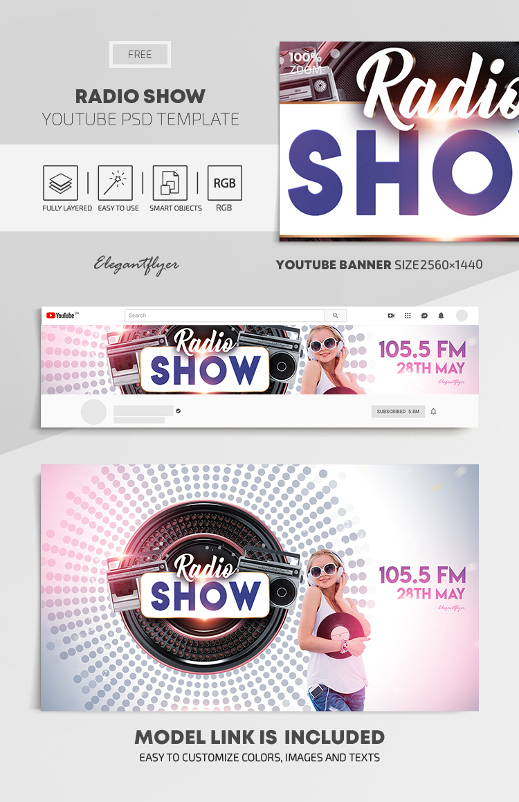 Radio Show – Free Youtube Channel banner PSD Template