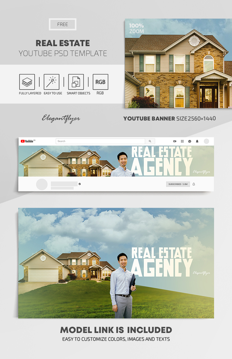 Real Estate – Free Youtube Channel banner PSD Template