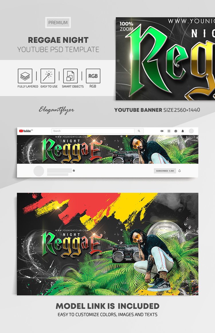 Reggae Night – Youtube Channel banner PSD Template
