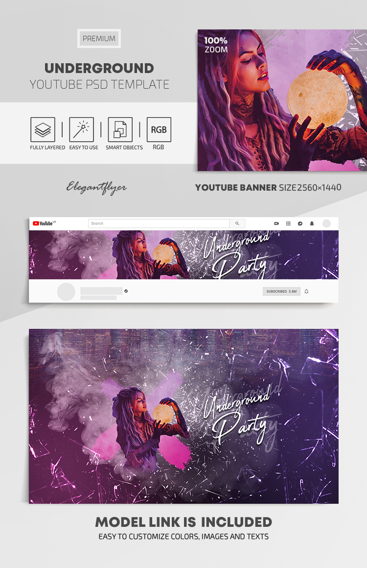 Underground – Youtube Channel banner PSD Template