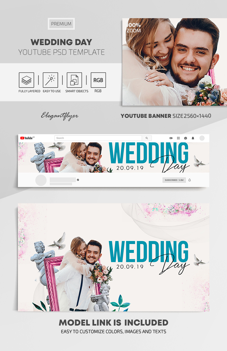 Wedding Day – Youtube Channel banner PSD Template