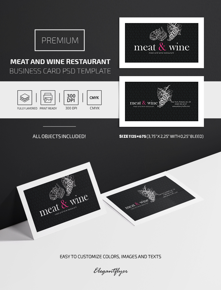 Meat and Wine Restaurant – Premium PSD Business Card Template
