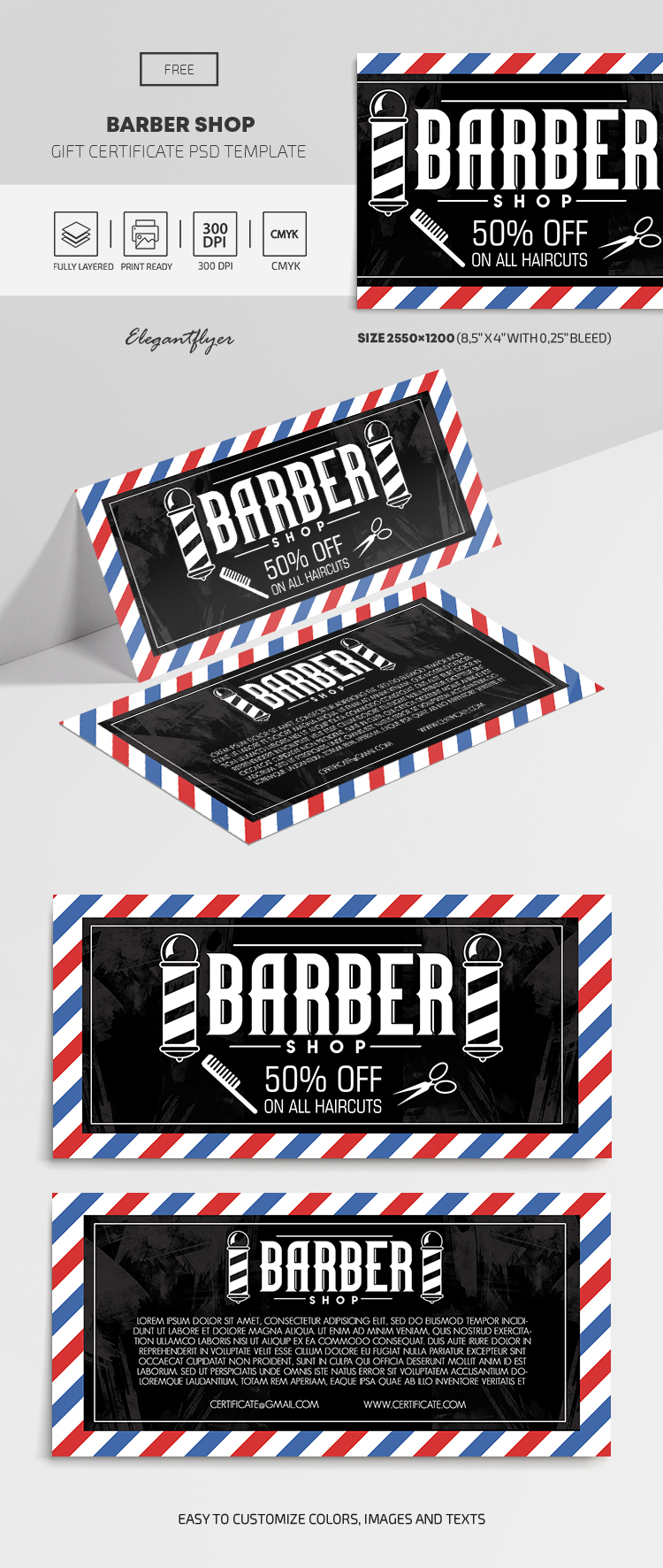Barber Shop – Free Gift Certificate Template
