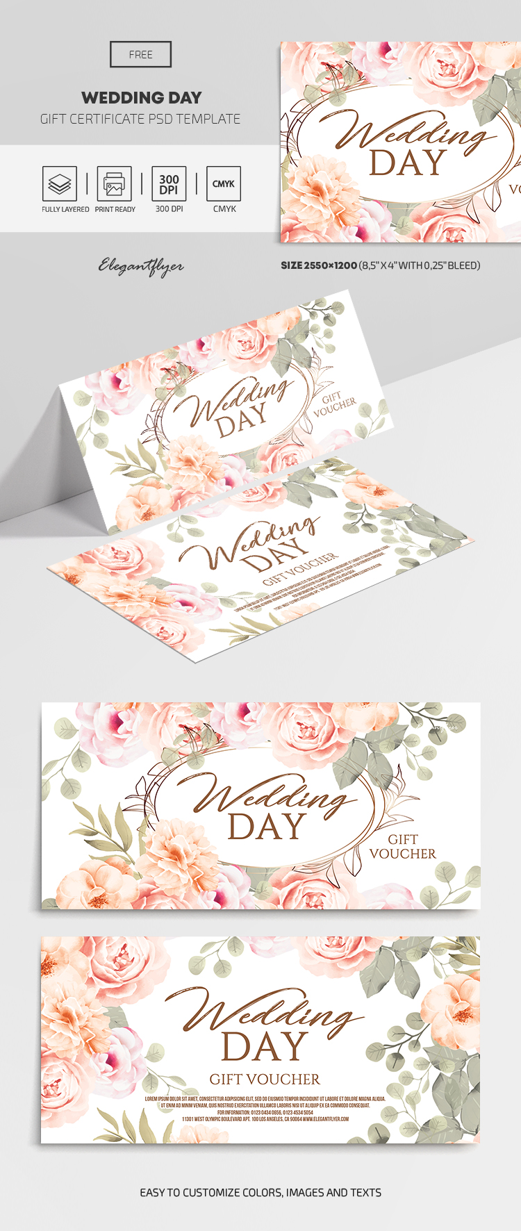 Wedding Day – Free Gift Certificate Template in PSD