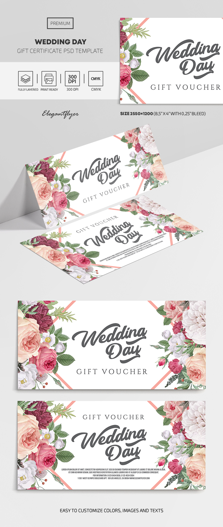 Wedding Day – Premium Gift Certificate Template in PSD