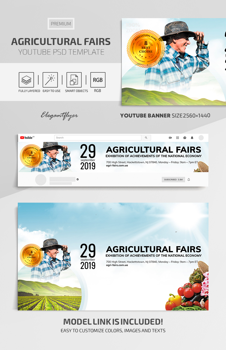 Agricultural Fairs – Youtube Channel banner Premium PSD Template