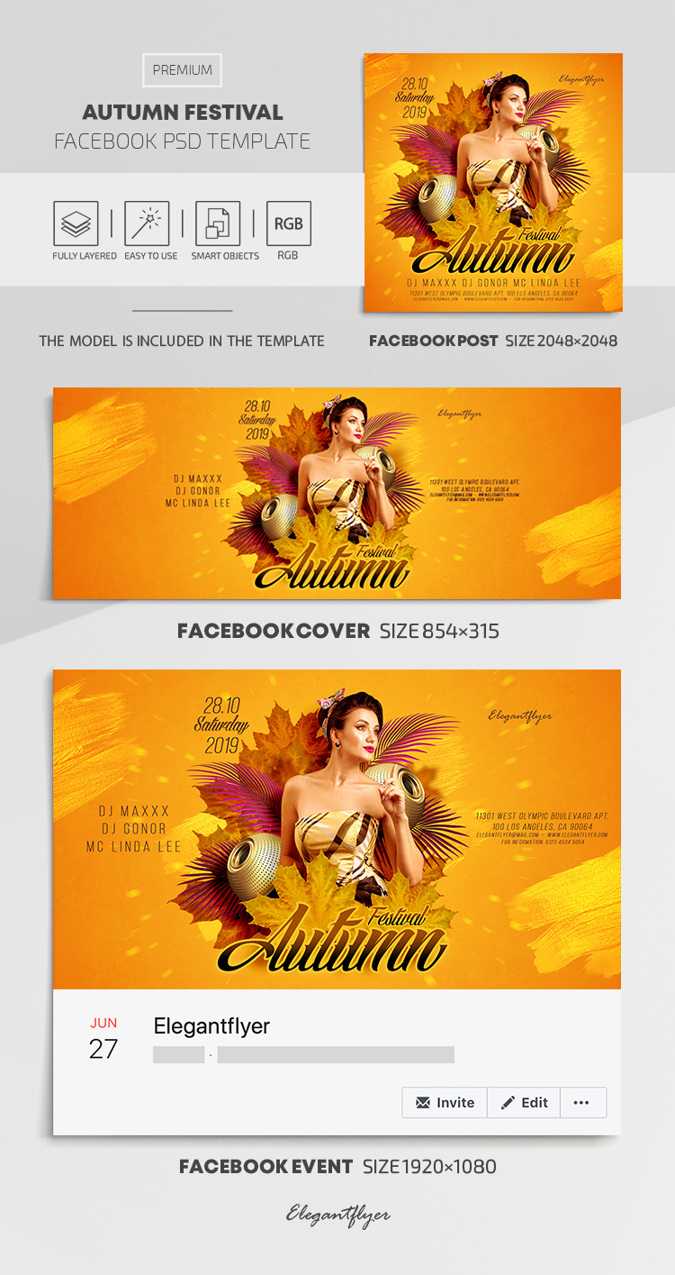 Autumn Festival – Facebook Cover Template in PSD + Post + Event cover