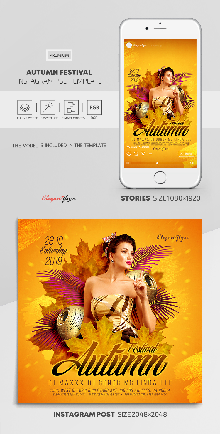 Autumn Festival – Instagram Stories Template in PSD + Post Templates