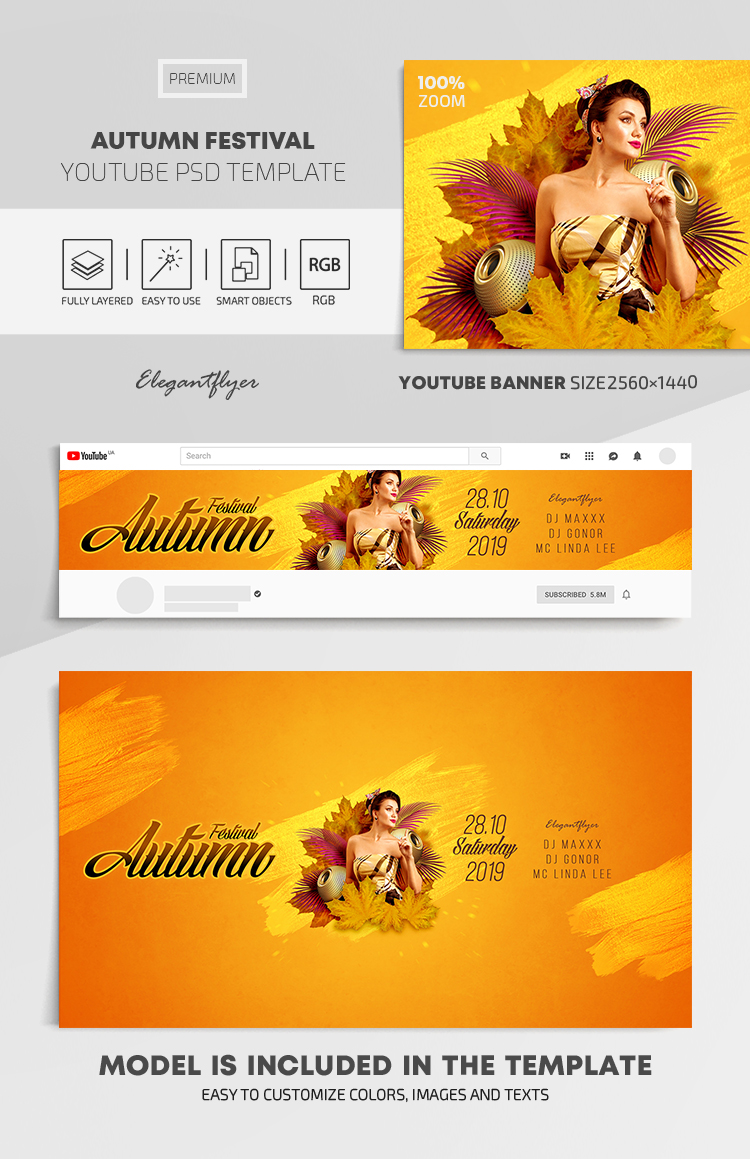 Autumn Festival – Youtube Channel banner PSD Template