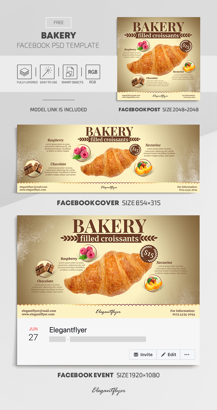 Bakery – Free Facebook Cover Template in PSD + Post + Event cover