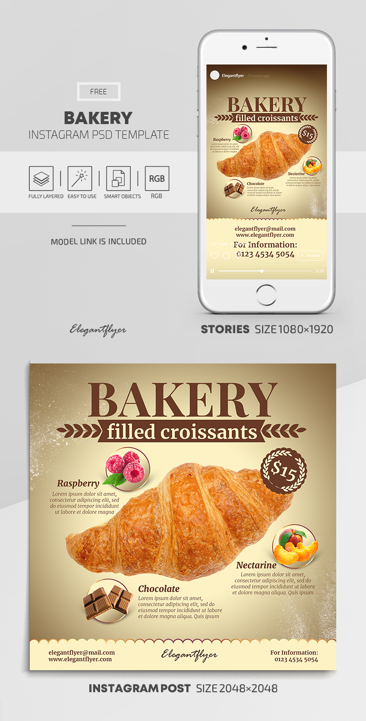Bakery – Free Instagram Stories Template in PSD + Post Templates