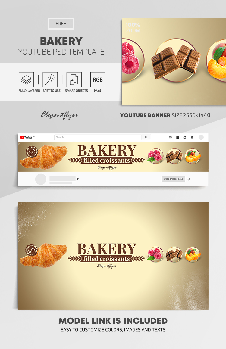 Bakery – Free Youtube Channel banner PSD Template
