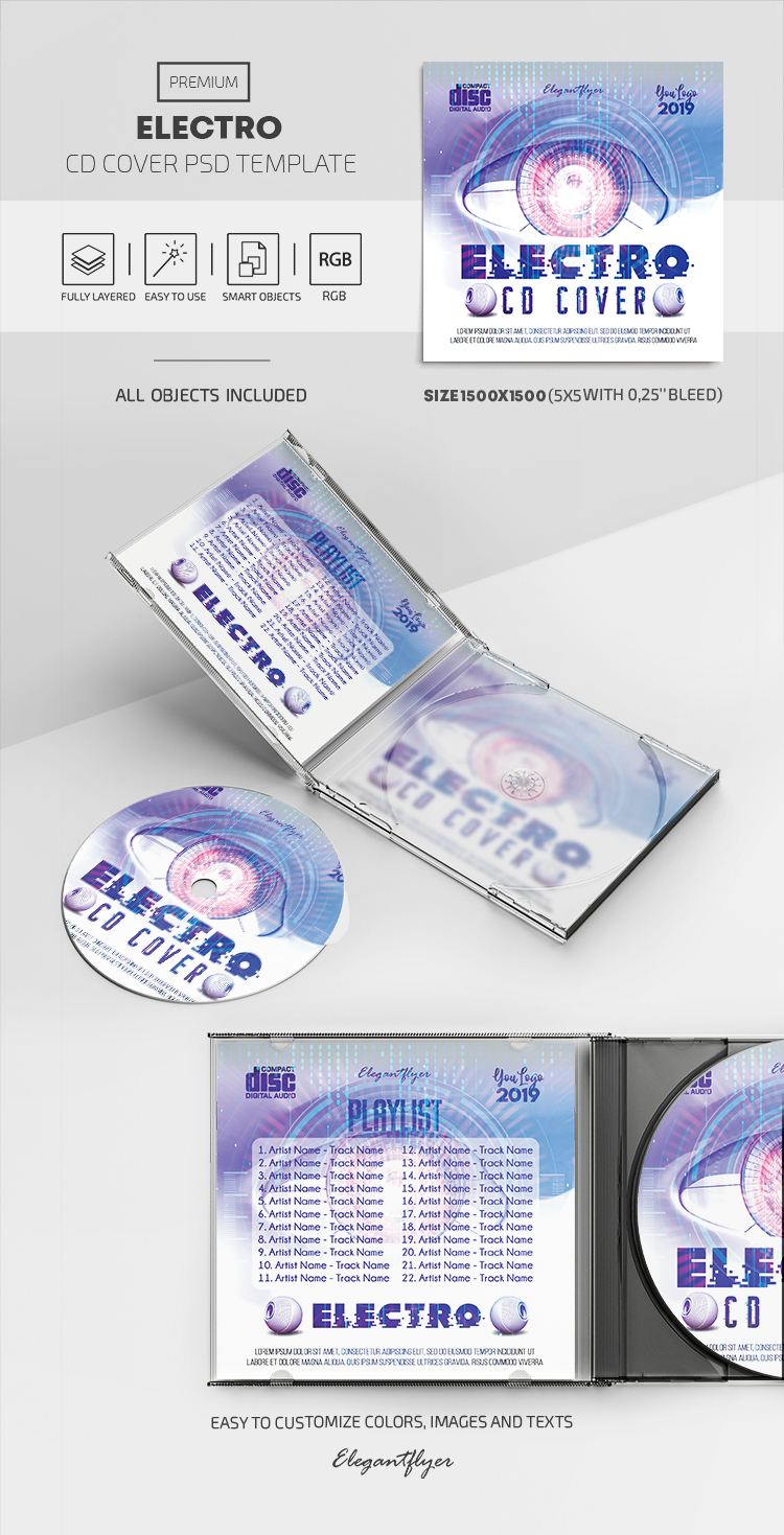 Electro – Premium CD Cover PSD Template