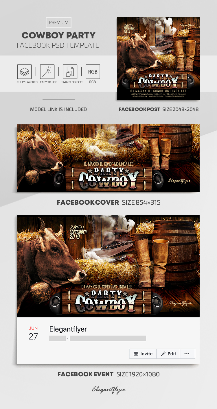 Cowboy Party – Facebook Cover Template in PSD + Post + Event cover