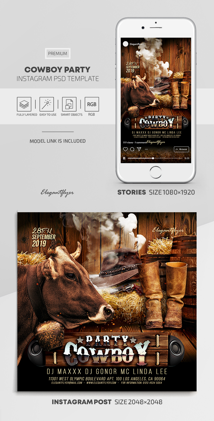 Cowboy Party – Instagram Stories Template in PSD + Post Templates