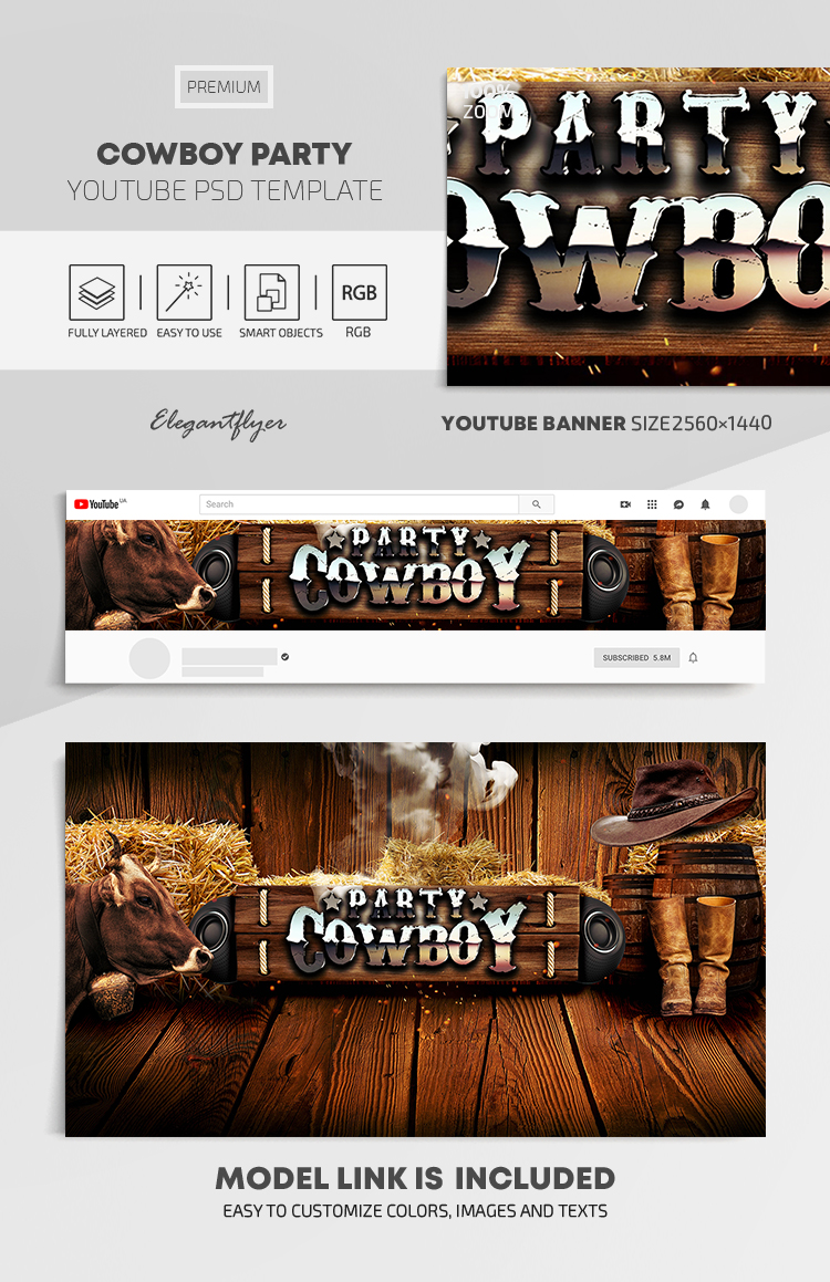 Cowboy Party – Youtube Channel banner PSD Template