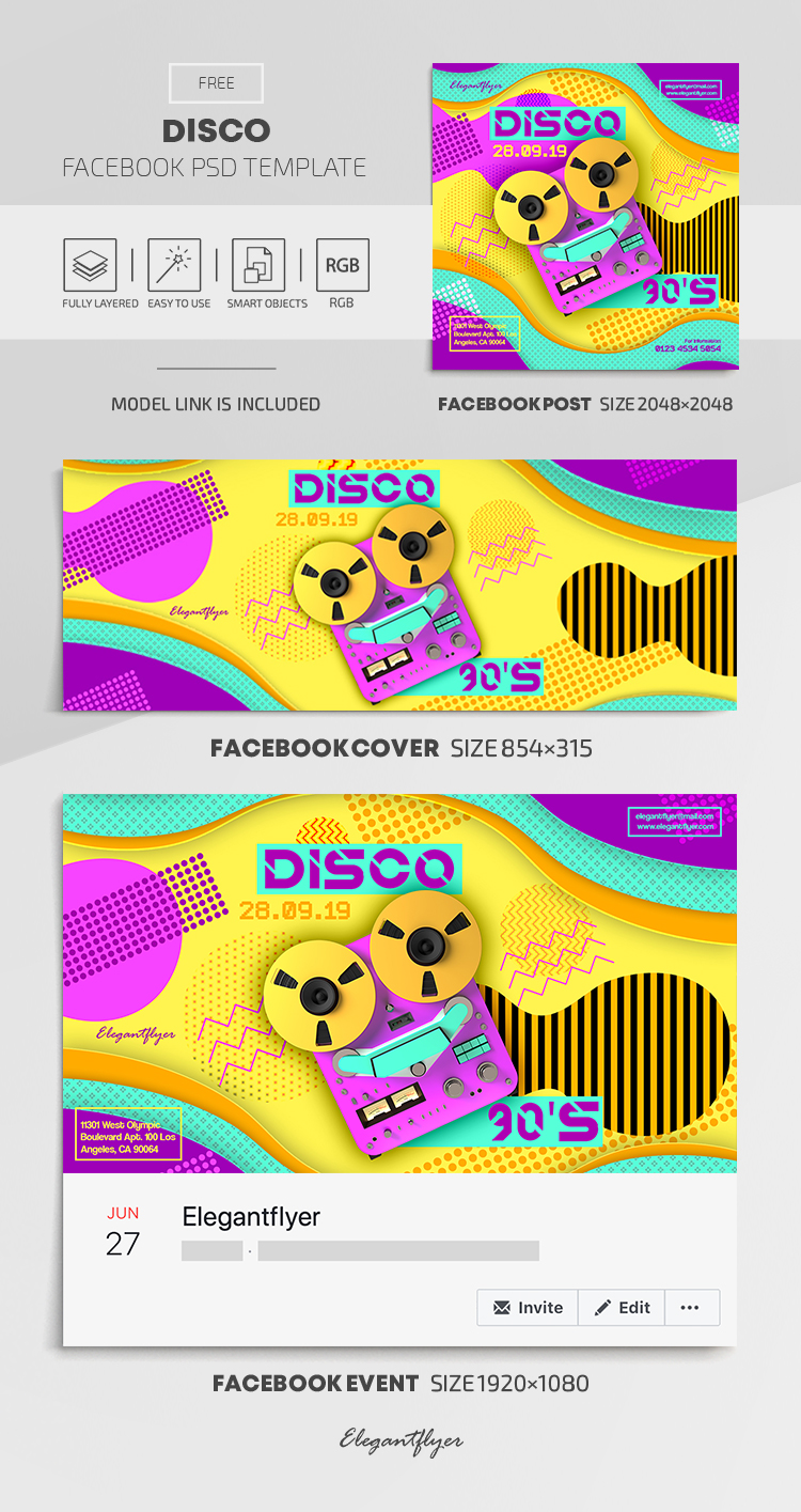 Disco – Free Facebook Cover Template in PSD + Post + Event cover
