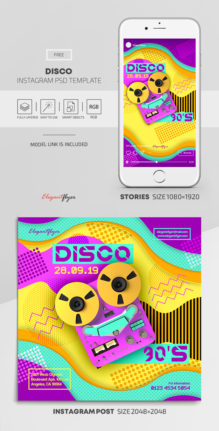 Disco – Free Instagram Stories Template in PSD + Post Templates