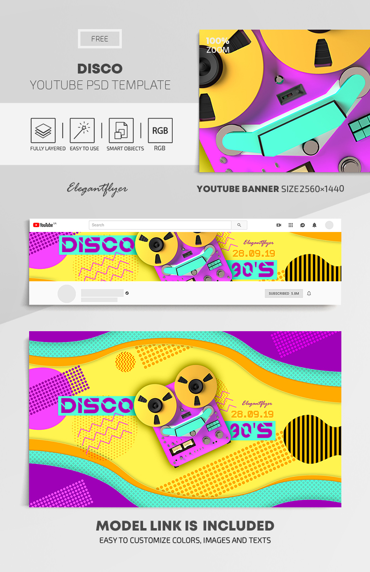 Disco – Free Youtube Channel banner PSD Template