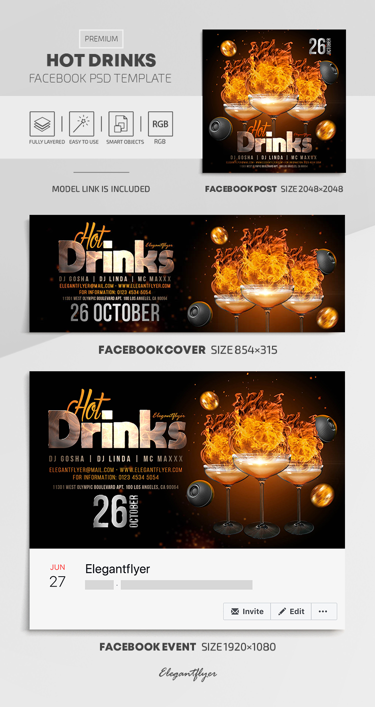 Hot Drinks – Facebook Cover Template in PSD + Post + Event cover