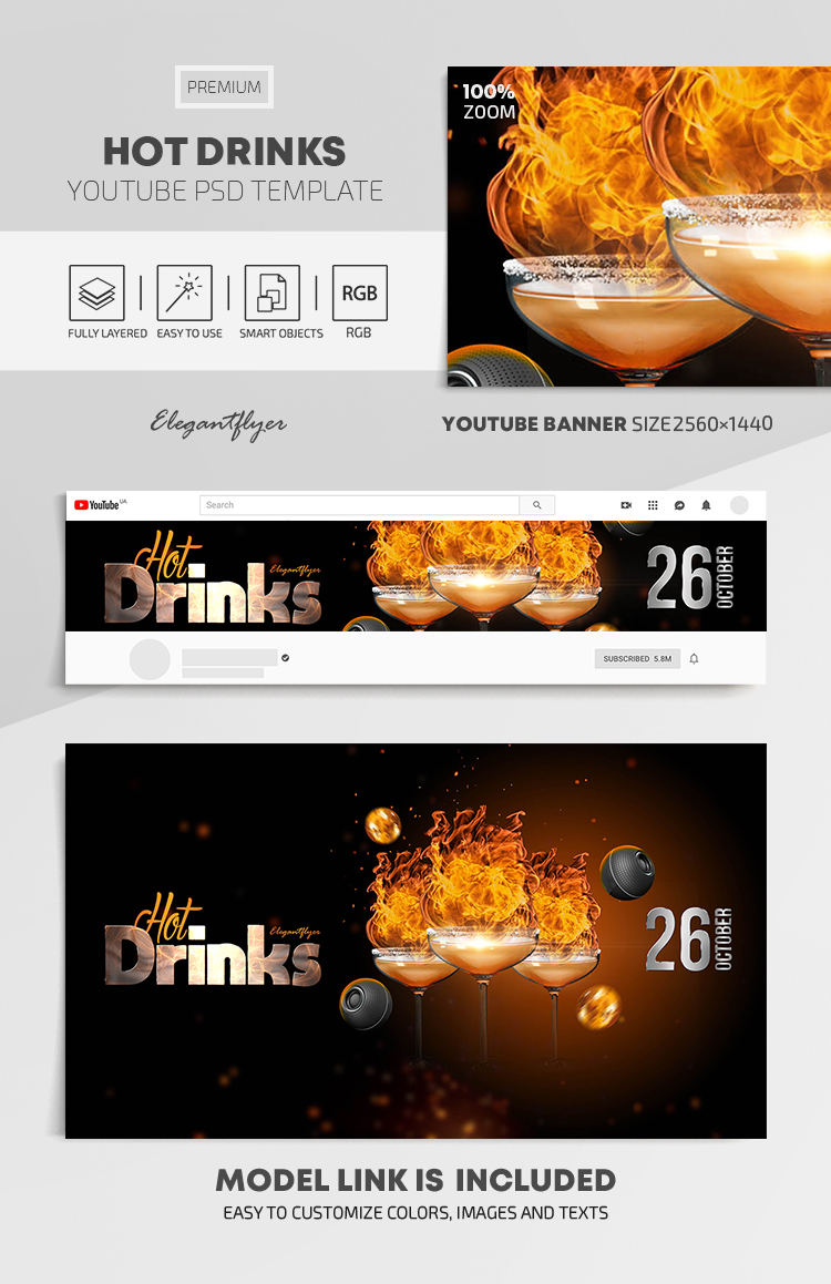 Hot Drinks – Youtube Channel banner PSD Template