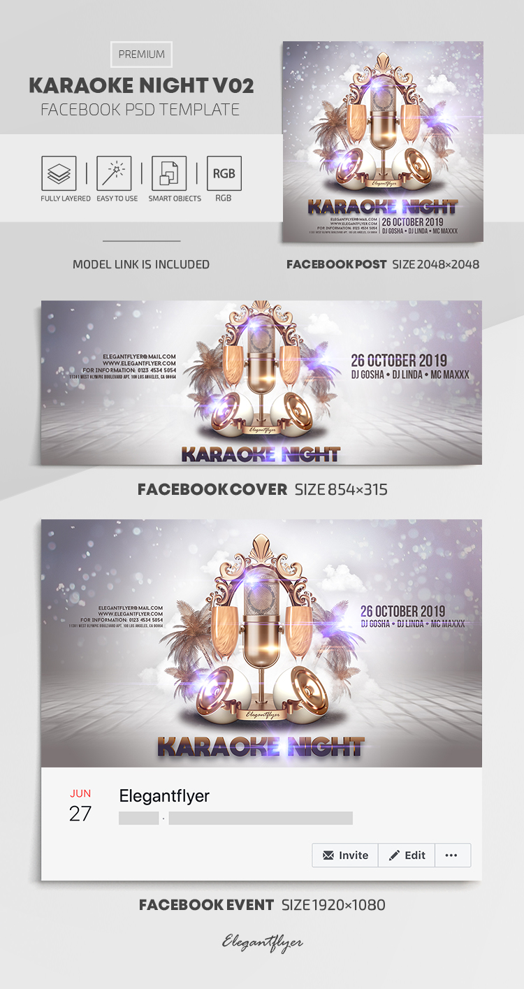 Karaoke Night – Facebook Cover Template in PSD + Post + Event cover