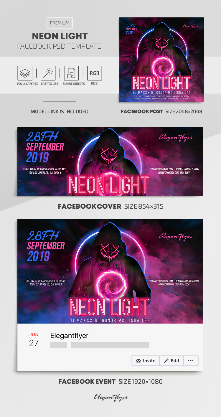 Neon Light – Facebook Cover Template in PSD + Post + Event cover