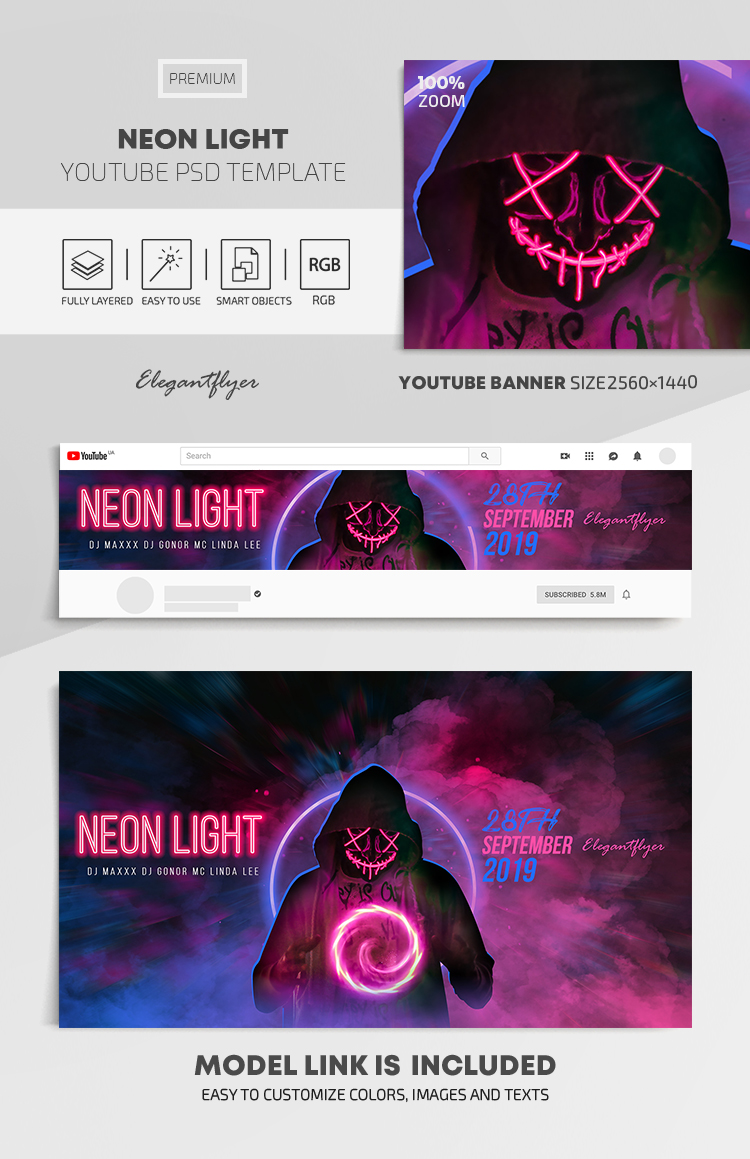 Neon Light – Youtube Channel banner PSD Template
