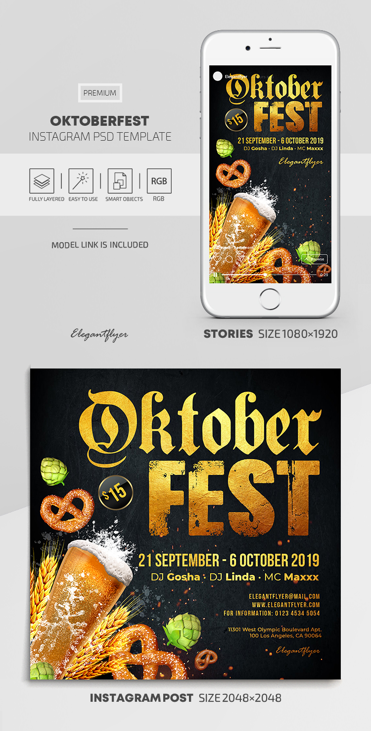Oktoberfest – Instagram Stories Template in PSD + Post Templates