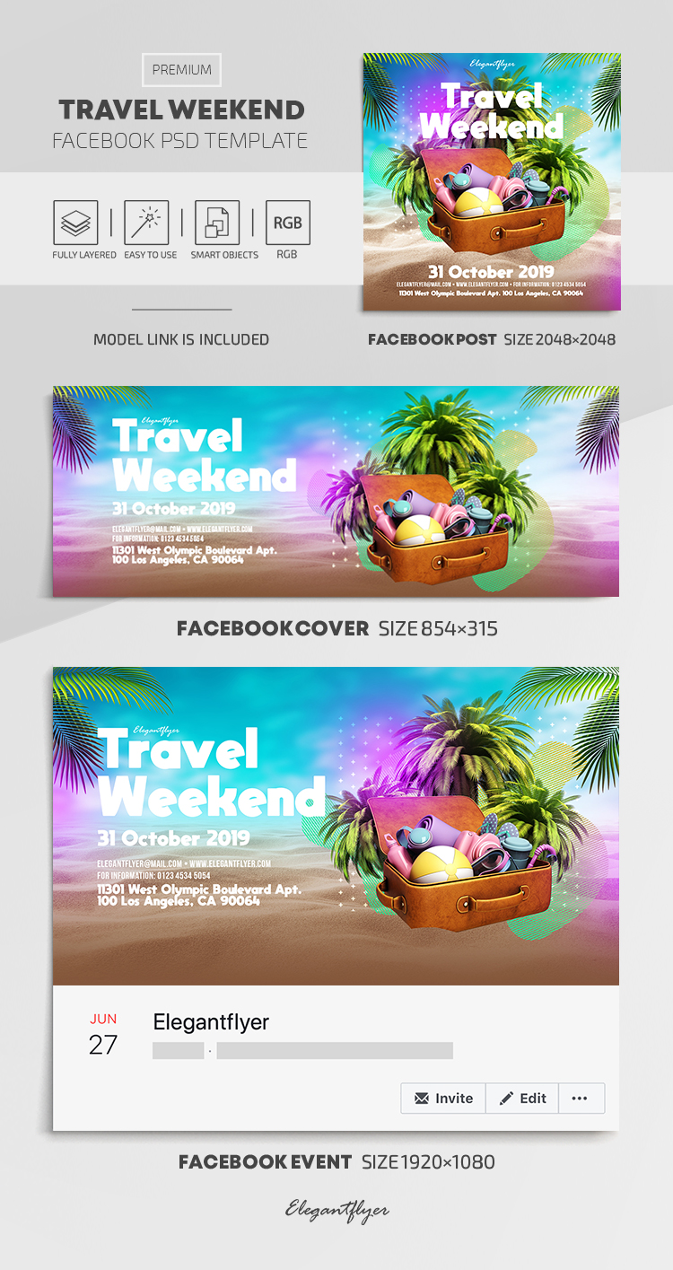 Weekends – Facebook Cover Template in PSD + Post + Event cover