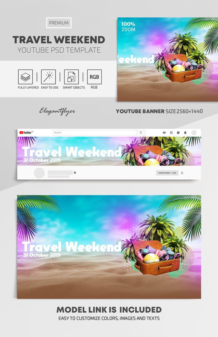 Weekends – Youtube Channel banner PSD Template