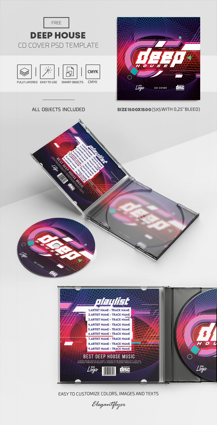 Deep House – Free PSD CD Cover Template