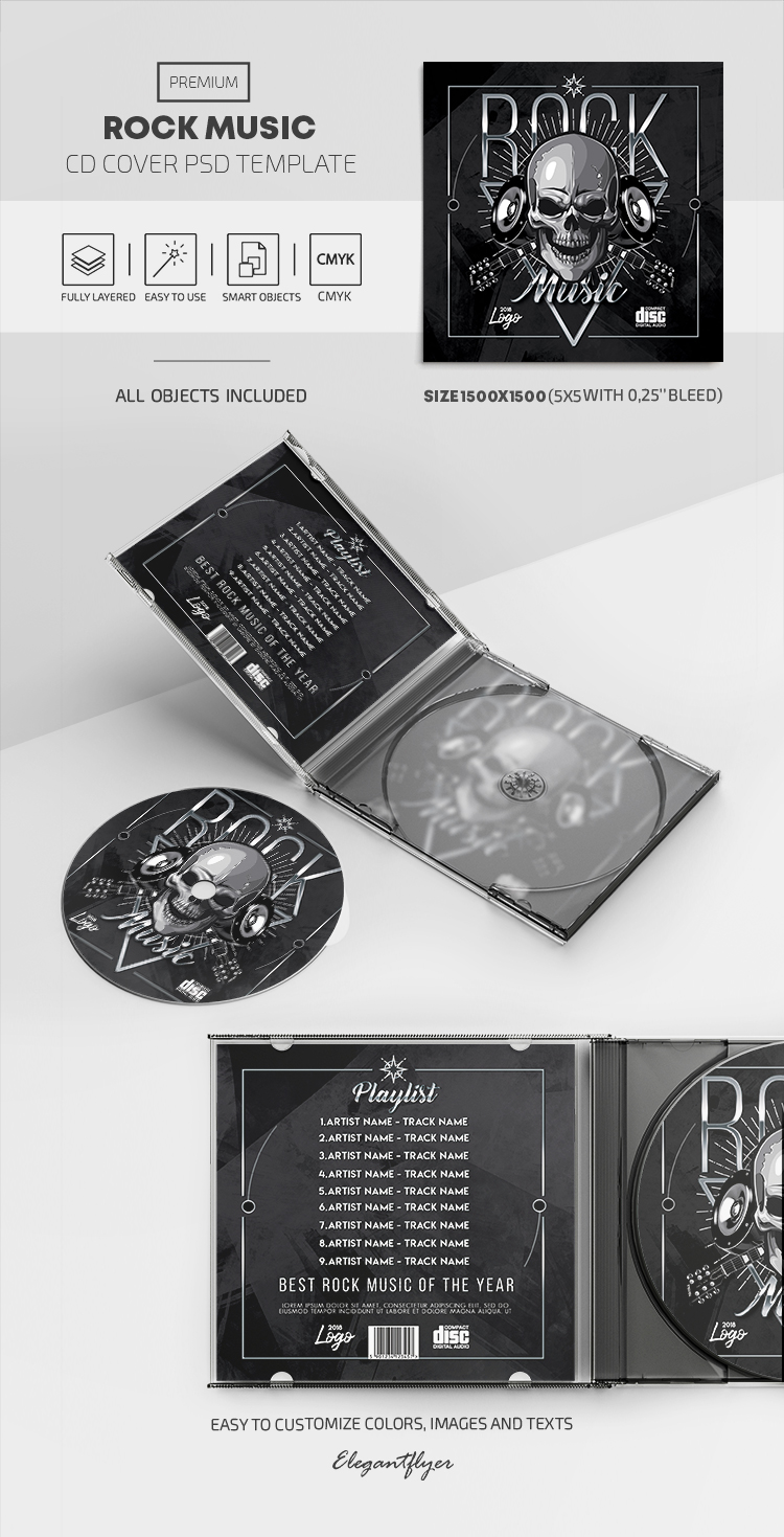 Rock Music – Premium CD Cover PSD Template