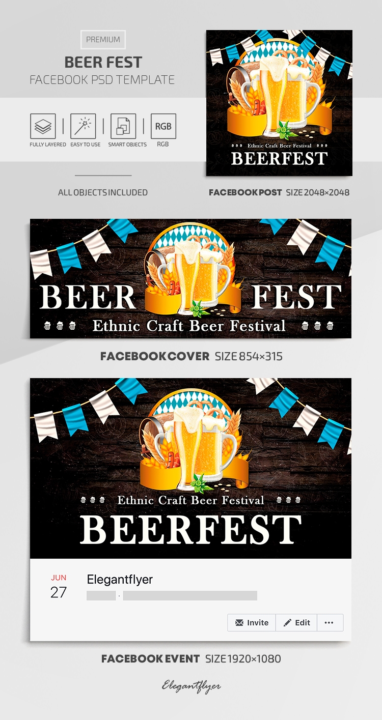 Beer Fest – Facebook Cover Template in Premium PSD + Post + Event cover