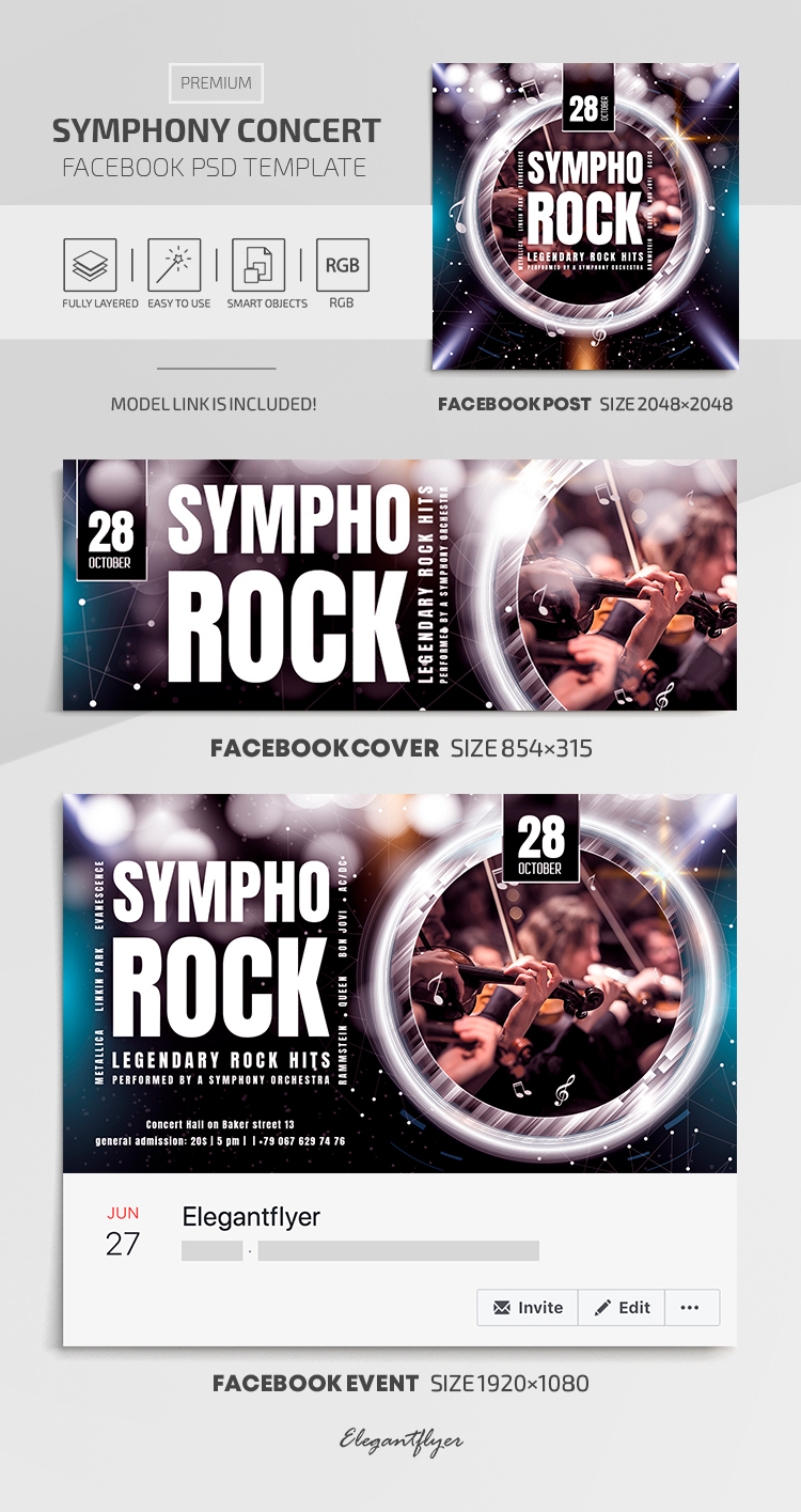 Symphony Concert  – Facebook Cover Template in Premium PSD + Post + Event cover