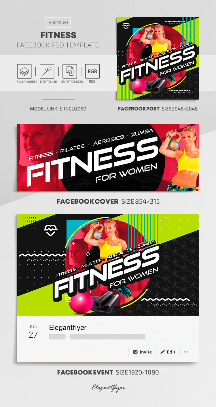 Fitness – Facebook Cover Template in Premium PSD + Post + Event cover