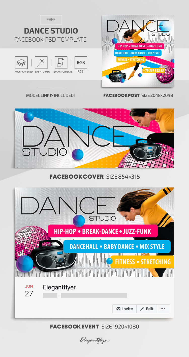Dance Studio – Facebook Cover Template in FREE PSD + Post + Event cover