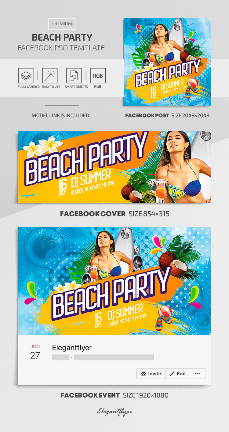Beach Party – Facebook Cover Template in Premium PSD + Post + Event cover