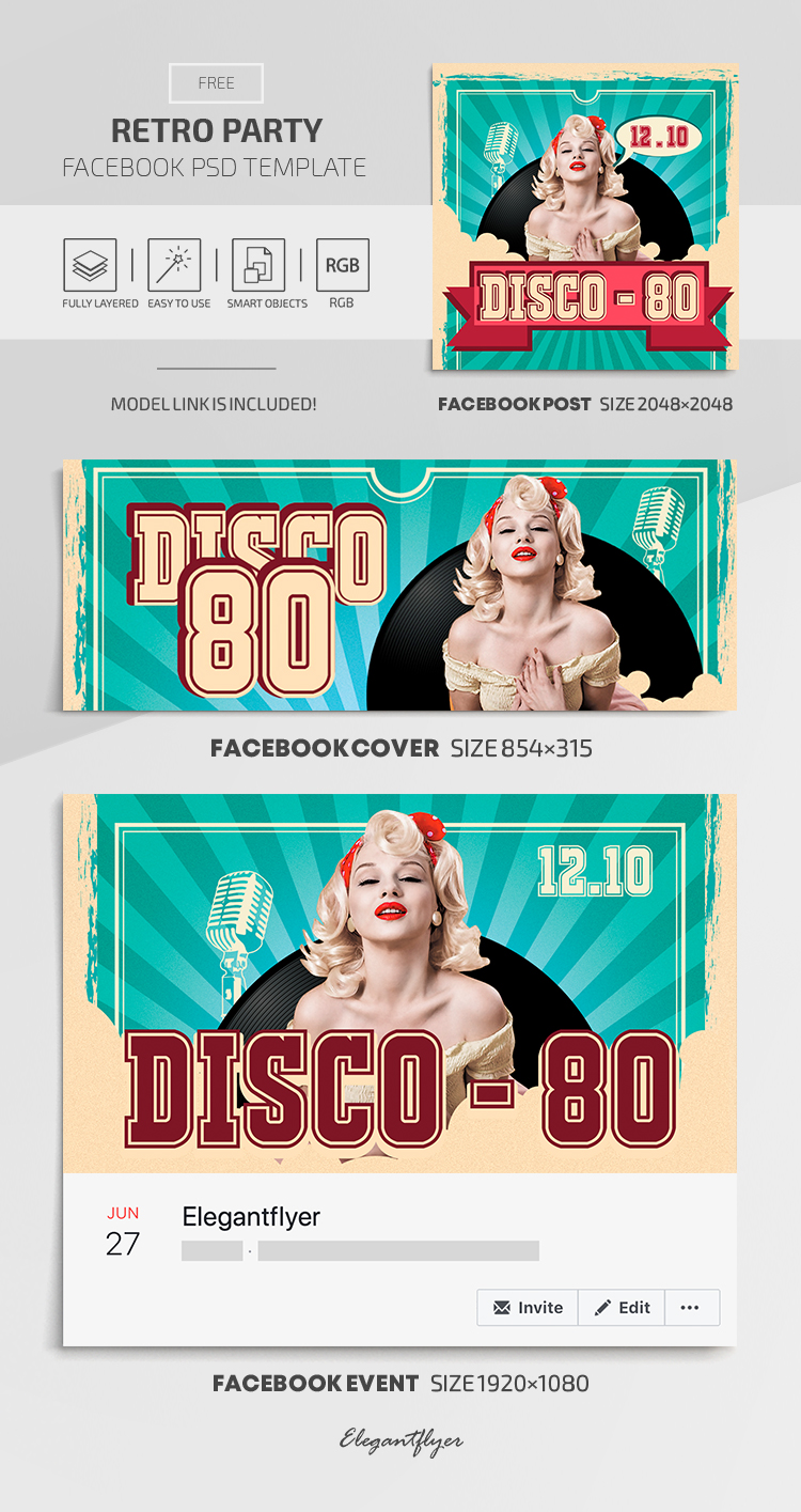Retro Party – Facebook Cover Template in FREE PSD + Post + Event cover