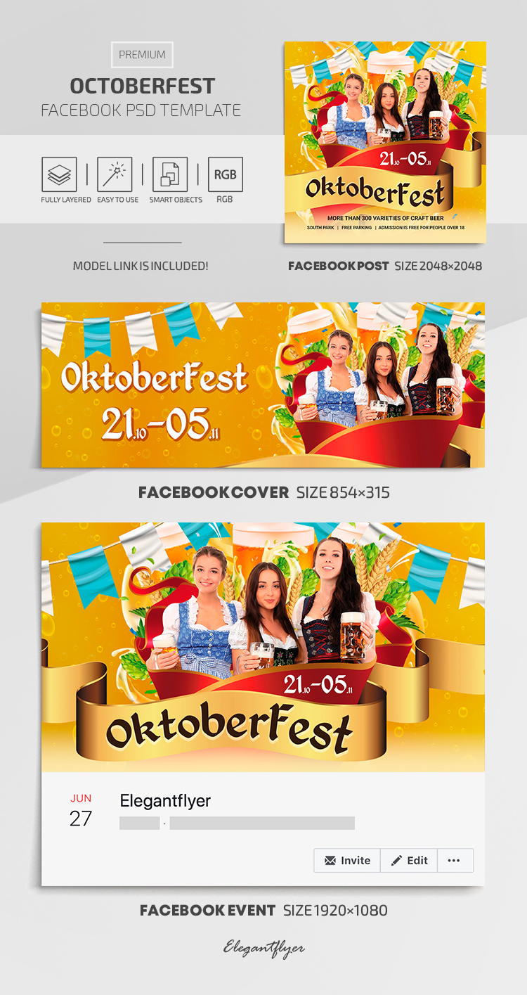 OctoberFest – Facebook Cover Template in Premium PSD + Post + Event cover