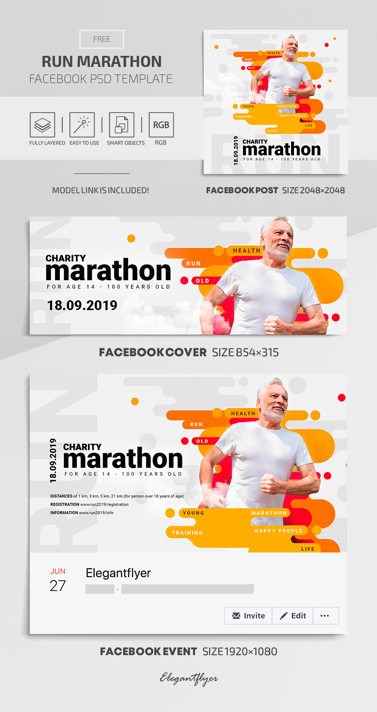 Run Marathon – Facebook Cover Template in FREE PSD + Post + Event cover