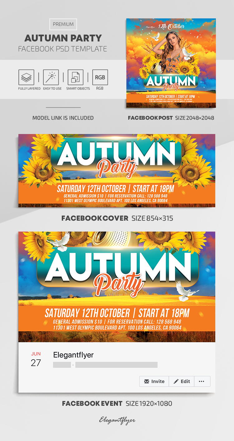 Autumn Party – Facebook Cover Template in PSD + Post + Event cover