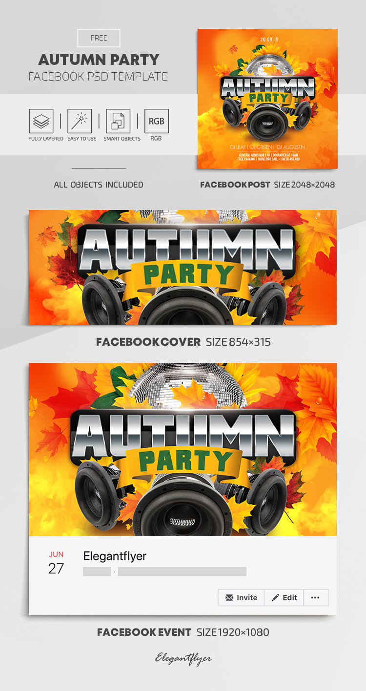 Autumn Party – Free Facebook Cover Template in PSD + Post + Event cover