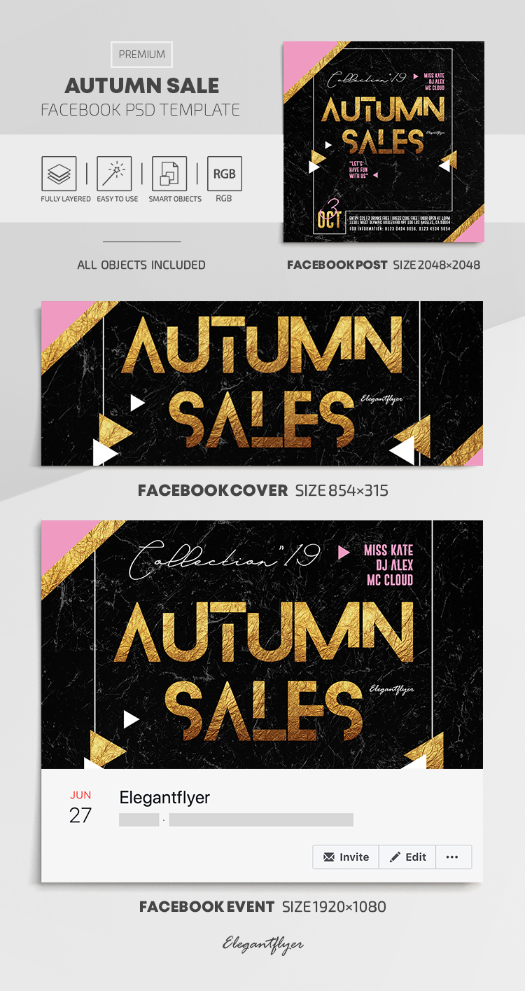 Autumn Sale – Facebook Cover Template in PSD + Post + Event cover