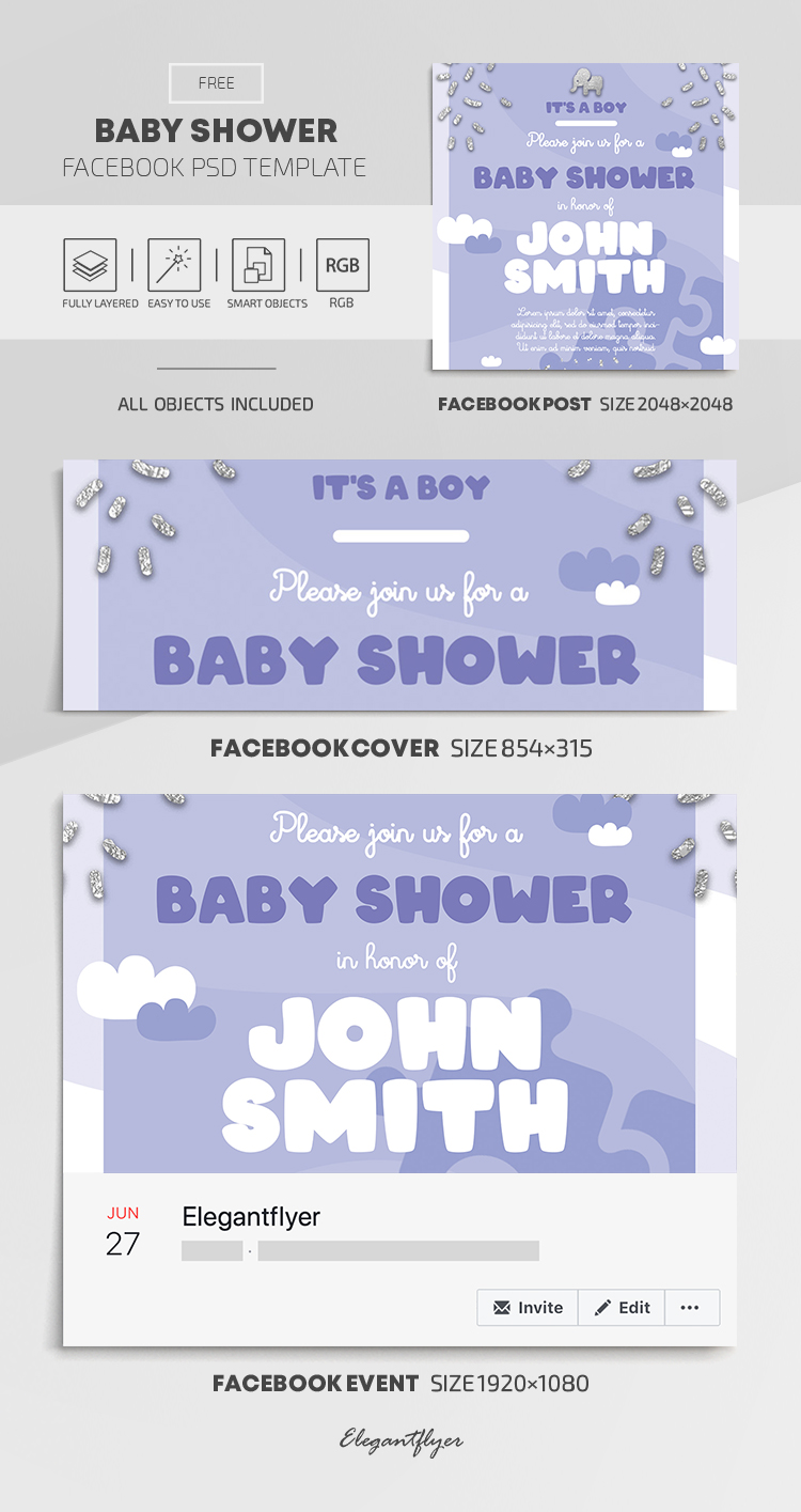 Baby Shower Free Facebook Cover Template In Psd Post Event Cover By Elegantflyer
