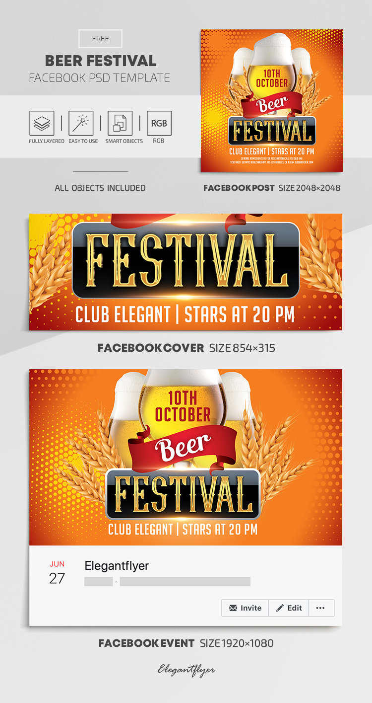 Beer Festival – Free Facebook Cover Template in PSD + Post + Event cover