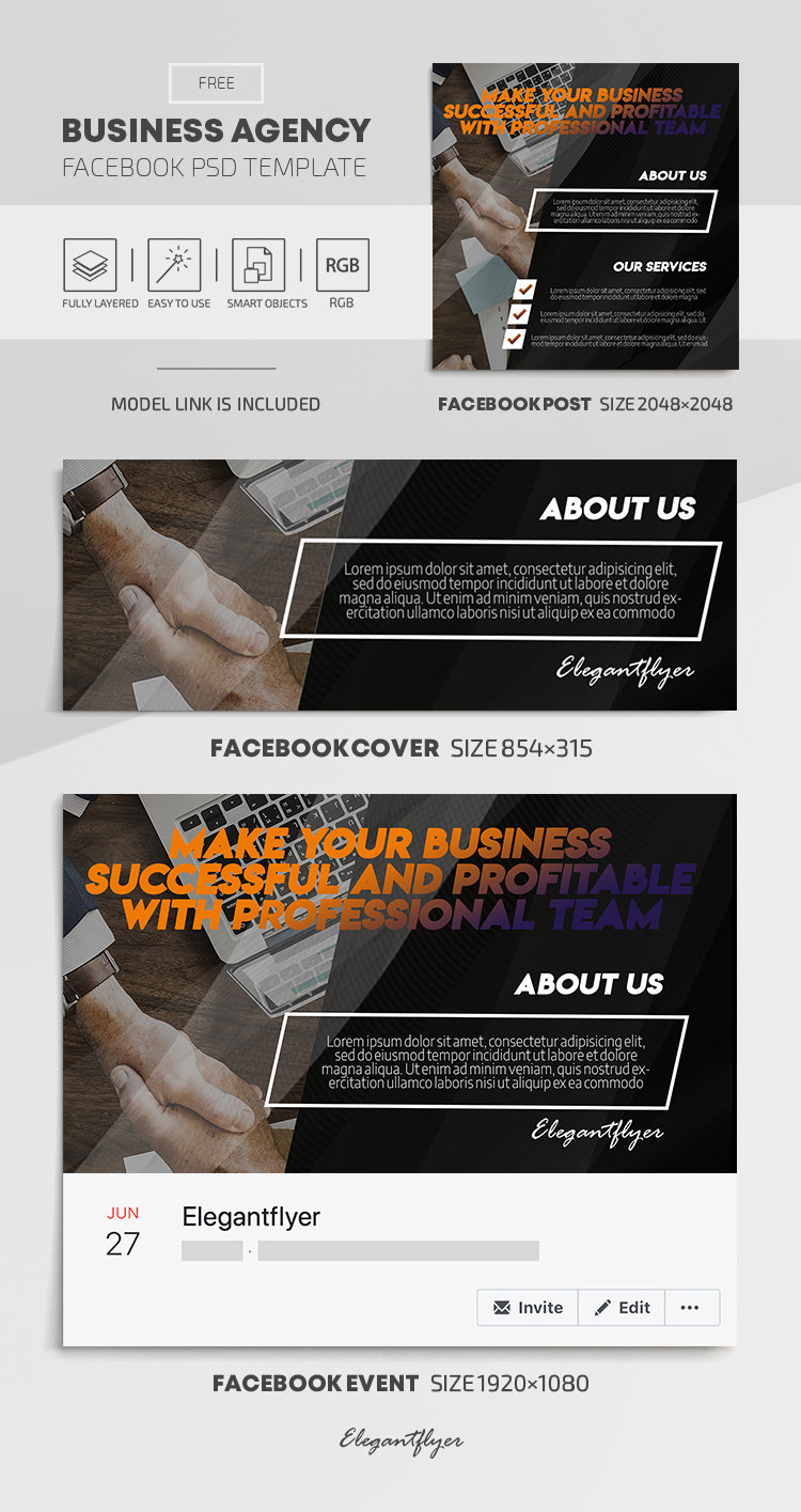 Business Agency – Free Facebook Cover Template in PSD + Post + Event cover