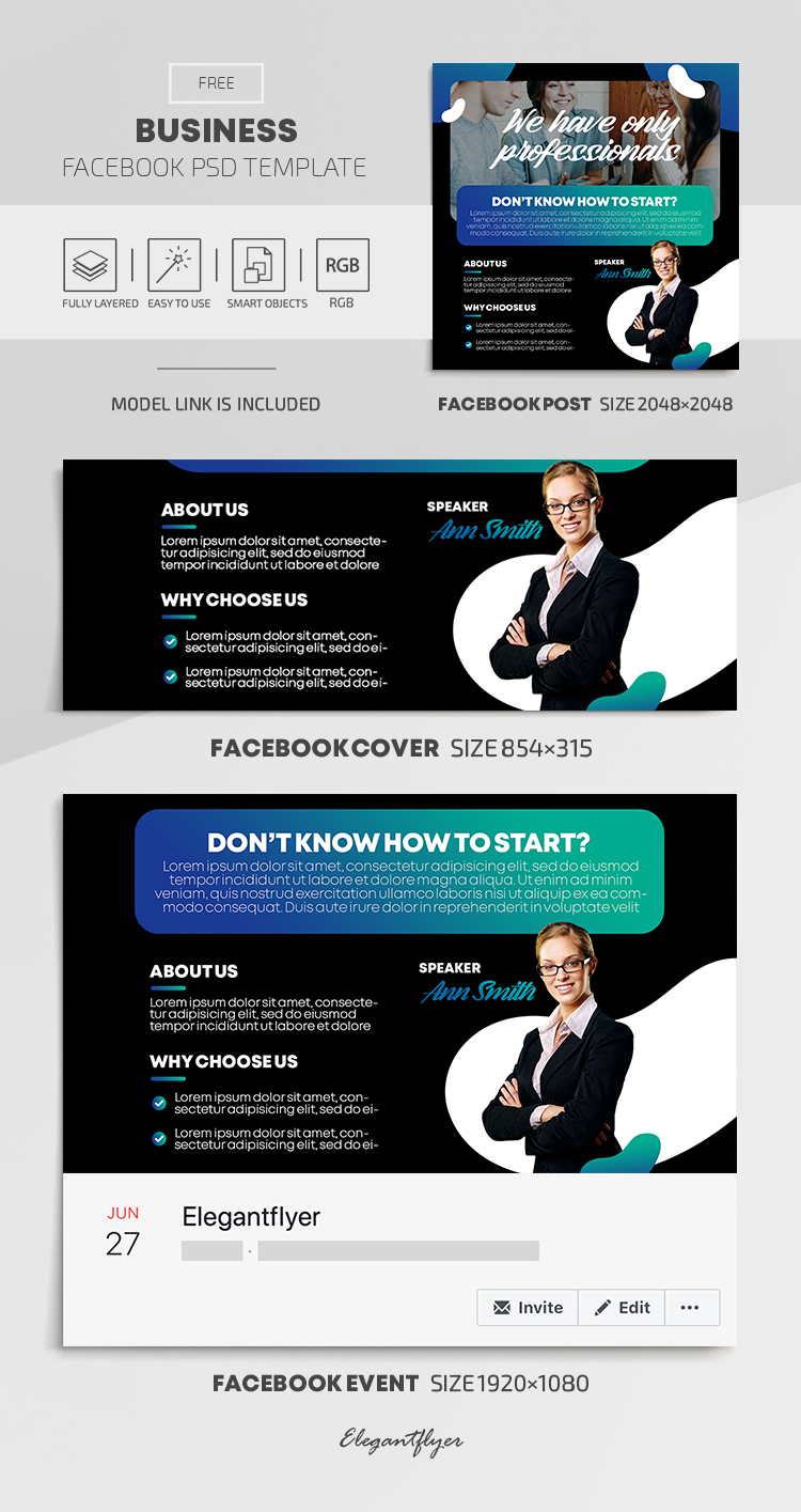 Business – Free Facebook Cover Template in PSD + Post + Event cover