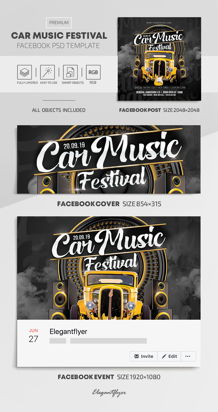 Car Music Festival – Facebook Cover Template in PSD + Post + Event cover