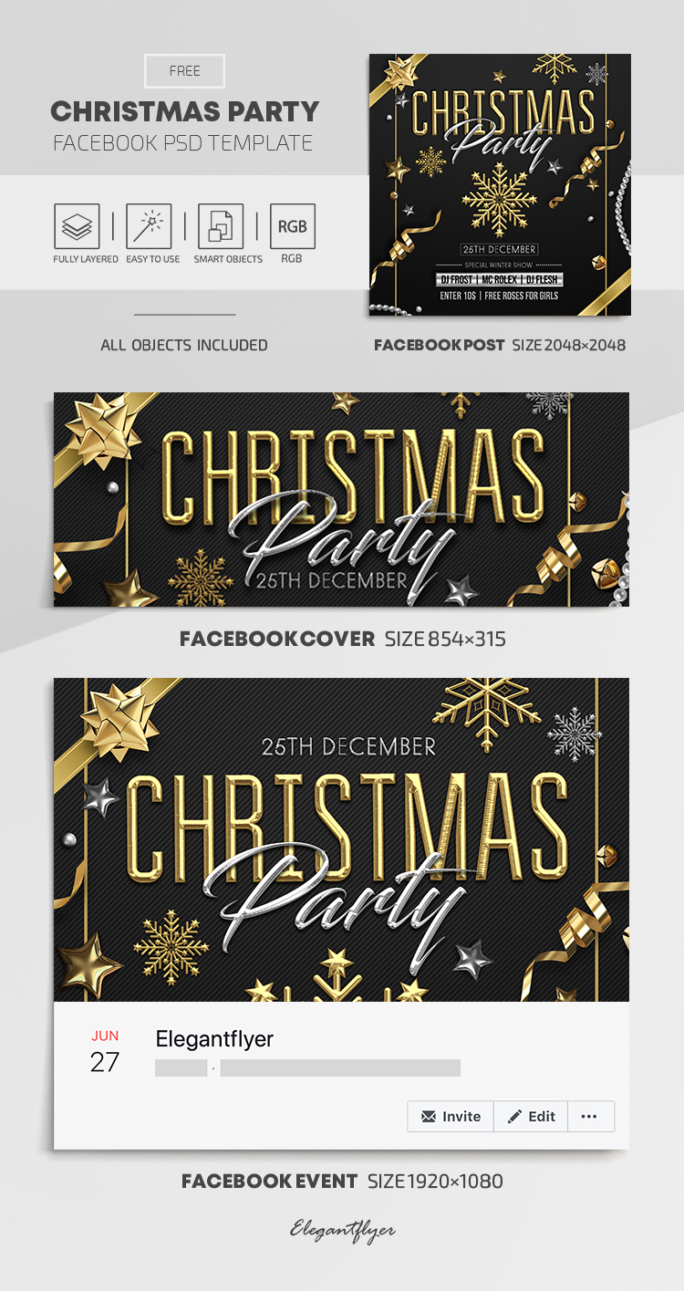 Christmas Party – Free Facebook Cover Template in PSD + Post + Event cover